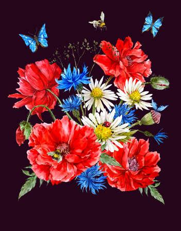 schmetterlinge blau wasserfarbe: Sommer-Weinlese-Aquarell-Gruß-Karte mit roten Mohnblumen Blooming Kamille Marienkäfer und Gänseblümchen Kornblumen Hummel-Biene und blaue Schmetterlinge, Aquarell-Illustration. Lizenzfreie Bilder