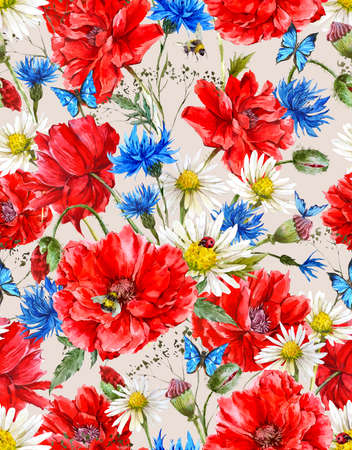ladybird: Summer Watercolor Vintage Floral Seamless Pattern with Blooming Red Poppies Chamomile Ladybird and Daisies Cornflowers Bumblebee Bee and Blue Butterflies, Watercolor illustration