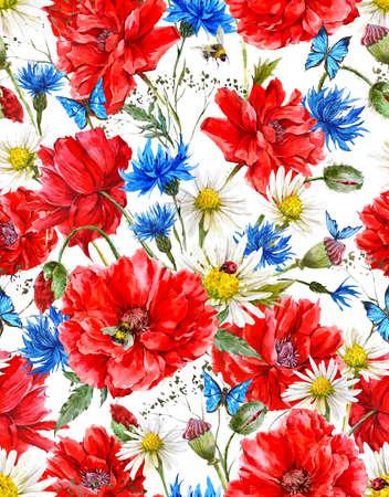 schmetterlinge blau wasserfarbe: Sommer Aquarell Weinlese-Blumennahtloses Muster mit roten Mohnblumen Blooming Kamille Marienkäfer und Gänseblümchen Kornblumen Hummel-Biene und blaue Schmetterlinge, Aquarell-Illustration