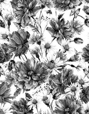mariposa: Patrón monocromo Verano Acuarela floral de la vendimia inconsútil con las amapolas en flor de manzanilla Mariquita y margaritas Cornflowers abejorro abeja y mariposas, acuarela ilustración
