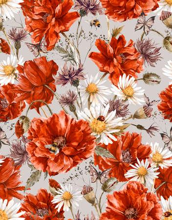 amapola: Patrón de verano Acuarela floral de la vendimia inconsútil con Blooming Red Poppies manzanilla Mariquita y margaritas Cornflowers abejorro abeja y Mariposas azules, acuarela ilustración Foto de archivo