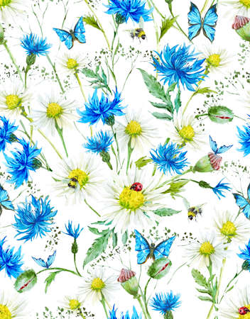 bumblebee: Summer Watercolor Vintage Floral Seamless Pattern with Blooming Chamomile and Daisies Cornflowers Ladybird Bumblebee Bee and Blue Butterflies, Watercolor illustration