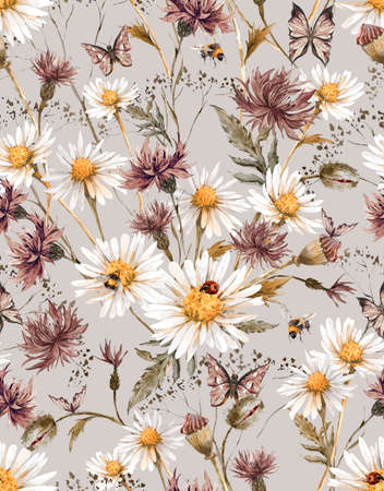 Summer Watercolor Vintage Floral Seamless Pattern with Blooming Chamomile and Daisies Cornflowers Ladybird Bumblebee Bee and Blue Butterflies, Watercolor illustration