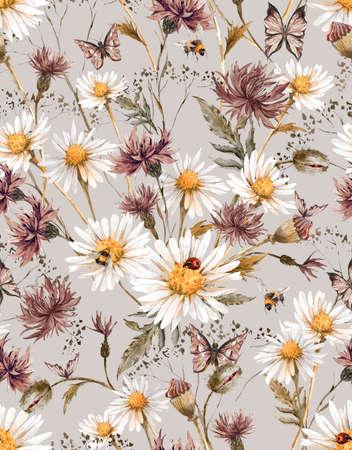 muster: Sommer Aquarell Weinlese-Blumennahtloses Muster mit Blooming Kamille und Kornblumen Gänseblümchen Marienkäfer-Hummel-Biene und blaue Schmetterlinge, Aquarell-Illustration