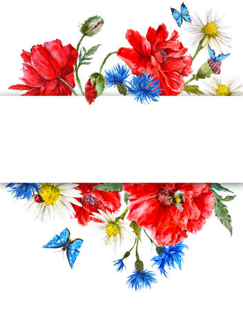 red white blue: Summer Vintage Watercolor Greeting Card with Blooming Red Poppies Chamomile Ladybird and Daisies Cornflowers Bumblebee Bee and Blue Butterflies, Watercolor illustration on white background.