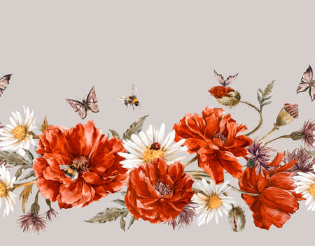 flower borders: Summer Watercolor Vintage Floral Seamless Border with Blooming Red Poppies Chamomile Ladybird and Daisies Cornflowers Bumblebee Bee and Blue Butterflies, Watercolor illustration on white background.