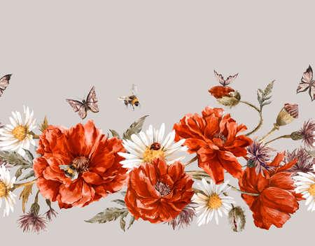 borde de flores: Verano de la acuarela de la vendimia inconsútil floral Frontera con Blooming Red Poppies manzanilla Mariquita y margaritas Cornflowers abejorro abeja y mariposas azules, ilustración de la acuarela en el fondo blanco. Foto de archivo