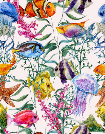 reef: Watercolor sea life seamless background, underwater watercolor illustration, Seaweed Starfish Coral Algae, Jellyfish and Fish
