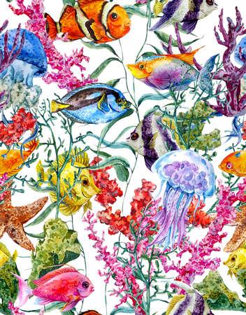 水彩画海生活シームレスな背景、水中の水彩イラスト、海藻ヒトデ サンゴ藻、クラゲや魚