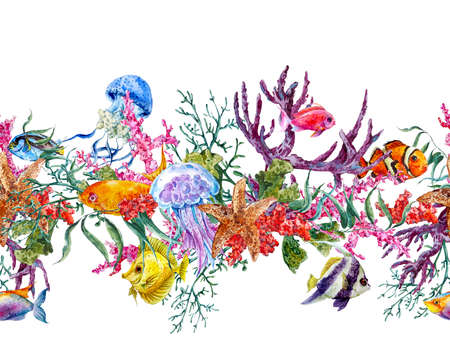 Summer Vintage Watercolor Sea Life Seamless Border with Seaweed Starfish Coral Algae, Jellyfish and Fish, Underwater Watercolor illustration. Zdjęcie Seryjne