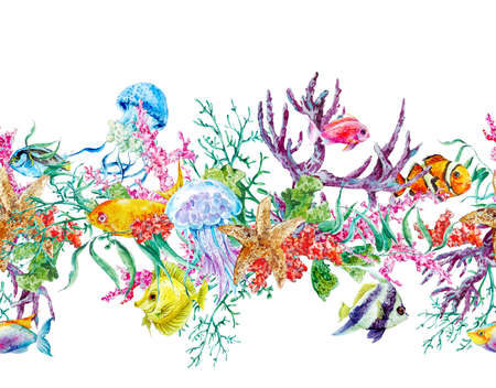 Summer Vintage Watercolor Sea Life Seamless Border with Seaweed Starfish Coral Algae, Jellyfish and Fish, Underwater Watercolor illustration. Stock Photo