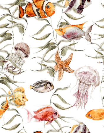 life: Watercolor sea life seamless pattern, underwater watercolor illustration, Seaweed Starfish Coral Algae, Jellyfish and Fish