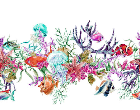 marine: Summer Vintage Watercolor Sea Life Seamless Border with Seaweed Starfish Coral Algae, Jellyfish and Fish, Underwater Watercolor illustration. Stock Photo