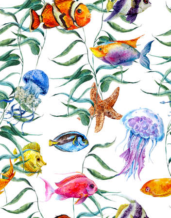 fishes pattern: Watercolor sea life seamless pattern, underwater watercolor illustration, Seaweed Starfish Coral Algae, Jellyfish and Fish