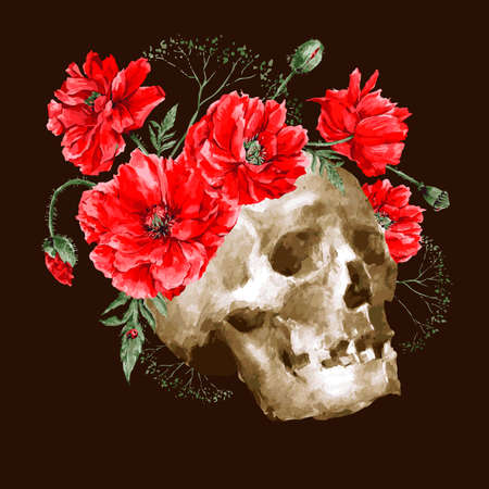 human skull: Watercolor Vector Vintage Card with Bouquet of Red Poppies and Skull, Watercolor Day of The Dead illustration