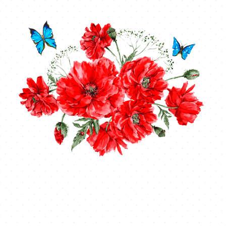schmetterlinge blau wasserfarbe: Aquarell Weinlese-Karte mit Red PoppiesBouquet und blaue Schmetterlinge auf einem weißen Hintergrund mit Platz für Ihren Text, Vektor-Illustration Aquarell