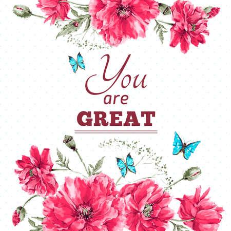 繊細なヴィンテージ水彩花カード花束の赤いケシの花と青い蝶、あなたのテキストの場所と水彩ベクトル図