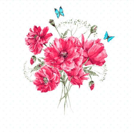 and bouquet: Delicate Vintage Acquerello Bouquet di papaveri rossi e blu farfalle acquerello Illustrazione vettoriale con posto per il testo Vettoriali