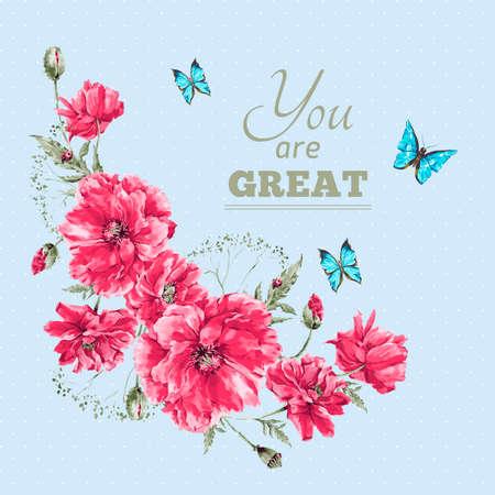 schmetterlinge blau wasserfarbe: Empfindliche Weinlese-Aquarell-Blumenkarte mit Blumenstrauß der roten Mohnblumen und blaue Schmetterlinge, Wasserfarbe Vektor-Illustration mit Platz für Ihren Text Illustration