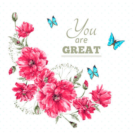 blue petals: Delicate Vintage Watercolor Floral Card with Bouquet of Red Poppies and Blue Butterflies, Watercolor Vector illustration with Place for Your Text