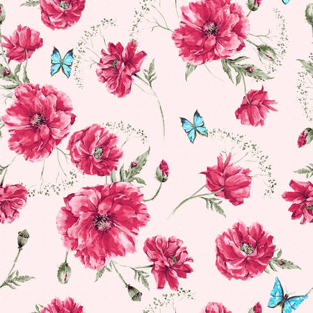 Beautiful gentle watercolor vintage summer seamless pattern with red poppies, blue butterflies and ladybird, watercolor vector illustration Illusztráció