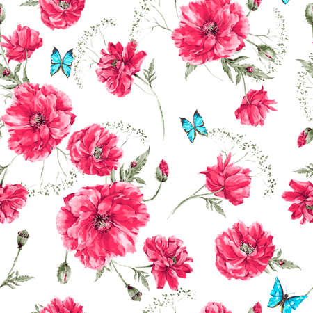 Beautiful gentle watercolor vintage summer seamless pattern with red poppies, blue butterflies and ladybird, watercolor vector illustration Ilustração