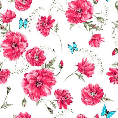amapola: Hermosa acuarela suave vendimia verano sin patrón, con las amapolas rojas, mariposas azules y Mariquita, ilustración vectorial acuarela