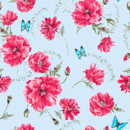 romantyczny: Piękna delikatna akwarela rocznika lato szwu z czerwonych maków, niebieskie motyle i biedronka, ilustracji akwarela wektora Ilustracja