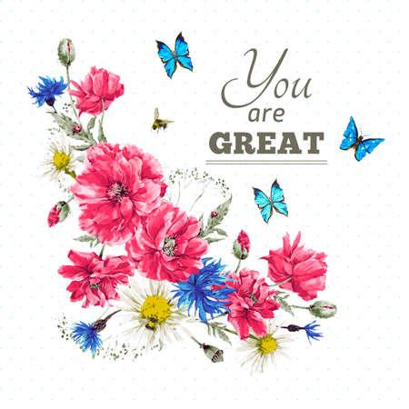 hojas antiguas: Hermosa acuarela suave viñeta vendimia verano con las amapolas rojas, mariposas azules y Mariquita, ilustración vectorial acuarela