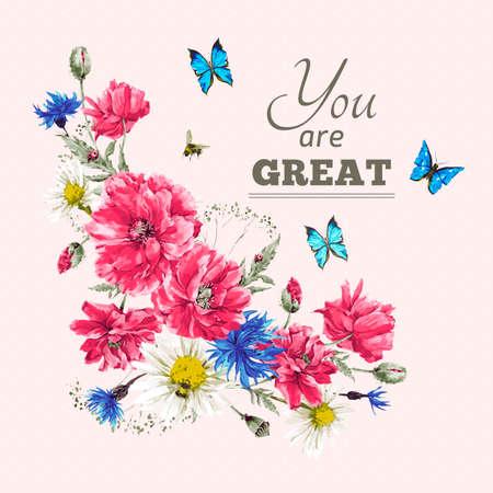 Mooie zachte aquarel vintage zomer vignet met rode klaprozen, blauwe vlinders en lieveheersbeestje, aquarel vector illustratie