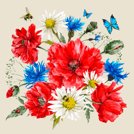 amapola: Ramo de la acuarela de la vendimia de flores silvestres, amapolas margaritas acianos, ejemplo de la acuarela del vector, abeja mariquita y mariposas azules Vectores