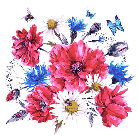 Vintage waterverf boeket van wilde bloemen, papavers madeliefjes korenbloemen, aquarel vector illustratie, lieveheersbeestje bijen en blauwe vlinders
