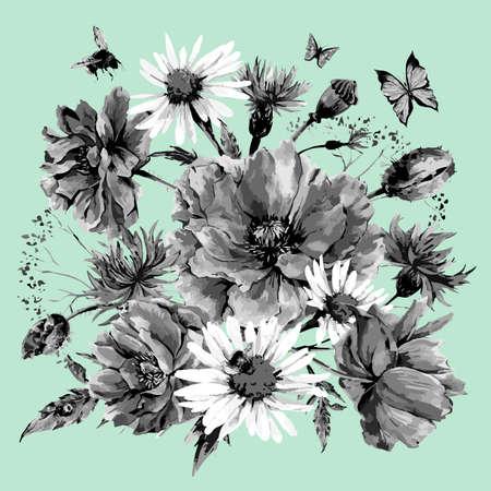 mazzo di fiori: Vintage bianco e nero acquerello mazzo di fiori di campo, papaveri margherite fiordalisi, acquerello illustrazione vettoriale, ape coccinella e farfalle