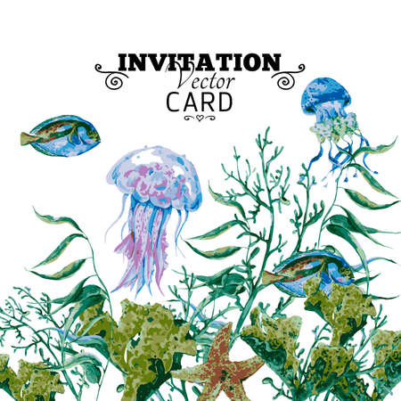 algae: Summer Vintage Watercolor Sea Life Greeting Card with Seaweed Starfish Coral Algae, Jellyfish and Fish. Underwater Vector Watercolor illustration.