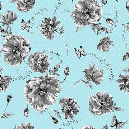 fiori di campo: Vintage monocromatico acquerello seamless con fiori di campo, papaveri margherite fiordalisi, illustrazione acquerello vettore, coccinella e farfalle su sfondo blu