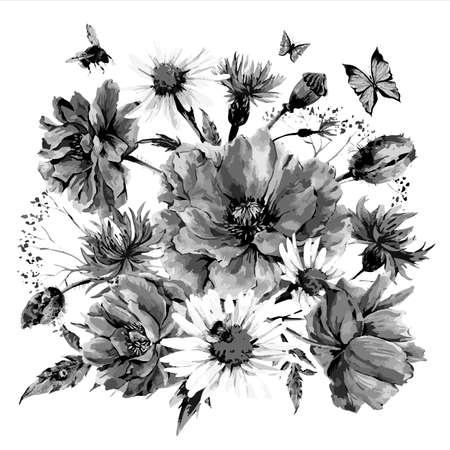 cornflowers: Vintage monochrome watercolor bouquet of wildflowers, poppies daisies cornflowers, watercolor vector illustration, ladybird bee and butterflies
