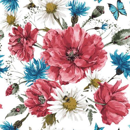 fiori di campo: Vintage acquerello mazzo di fiori di campo, squallido seamless con papaveri margherite, fiordalisi acquerello illustrazione vettoriale, ape coccinella e farfalle blu