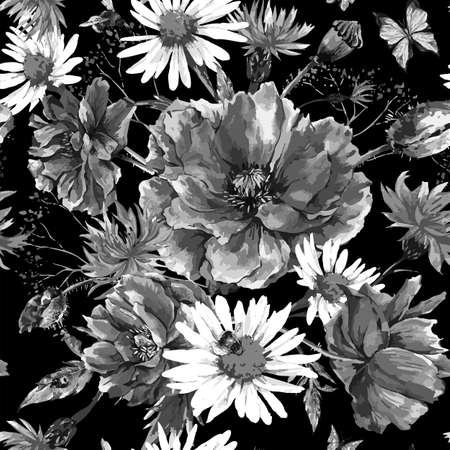 motif floral: Vintage monochrome aquarelle bouquet de fleurs sauvages, seamless coquelicots marguerites bleuets, aquarelle, illustration d'abeille coccinelle et des papillons sur fond noir