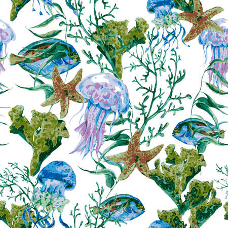 algae: Summer Vintage Watercolor Sea Life Seamless Pattern on white background with Seaweed Coral Algae, Jellyfish and Fish, Underwater Watercolor Vector illustration.