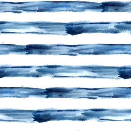 暗いブルー抽象的な水彩シームレスなストライプ パターン ベクトル、ベクトル イラスト