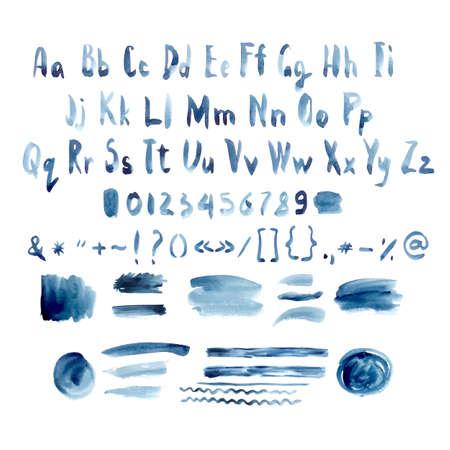 lettre alphabet: Dark Blue Vector Aquarelle Alphabet, Hand Drawn police, lettres avec des taches d'encre lignes et traits, illustration vectorielle Illustration