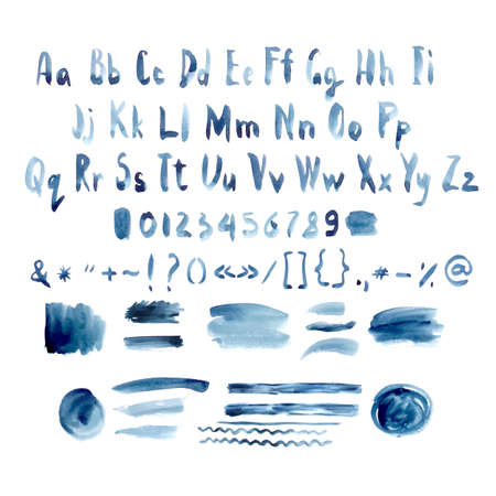 Dark Blue Vector Watercolor Alphabet, Hand Drawn Font, Letters with Ink Spots Lines and Strokes, vector illustration