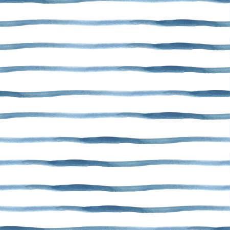 Dark Blue Vector Aquarel Seamless Gestreept Patroon, vector illustratie Stock Illustratie