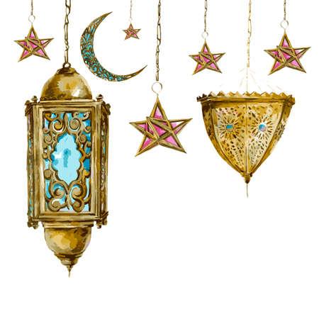 アラビア語ランタン、星や月、ラマダン カリーム手描きベクトル水彩イラストと伝統的な水彩画のグリーティング カード。