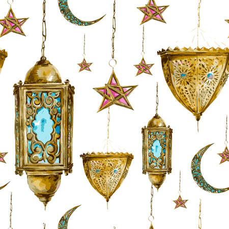 Traditional watercolor seamless background with arabic lantern, stars and moon, Ramadan Kareem hand drawn vector watercolor illustration. Illustration