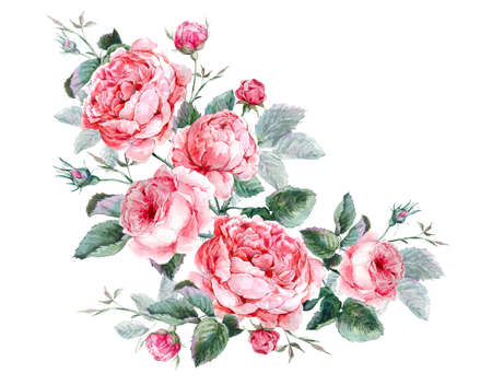 Classical vintage floral greeting card, watercolor bouquet of English roses, beautiful watercolor illustration Stock Photo