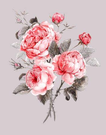 Tarjeta de felicitación floral de la vendimia clásica, ramo de la acuarela de rosas inglesas, ilustración hermosa acuarela Foto de archivo