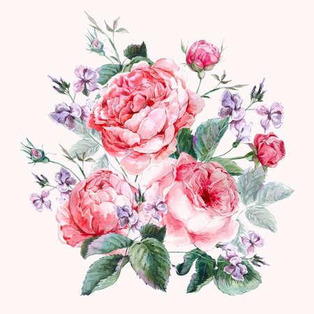クラシック ヴィンテージの花イングリッシュ ・ ローズ、美しい水彩イラストのカード、水彩画の花束の挨拶