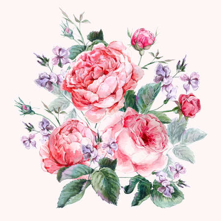 in english: Classical vintage floral greeting card, watercolor bouquet of English roses, beautiful watercolor illustration Stock Photo