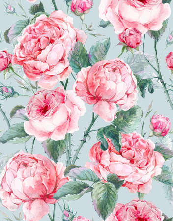 Classical vintage floral seamless pattern, watercolor bouquet of English roses, beautiful watercolor illustration
